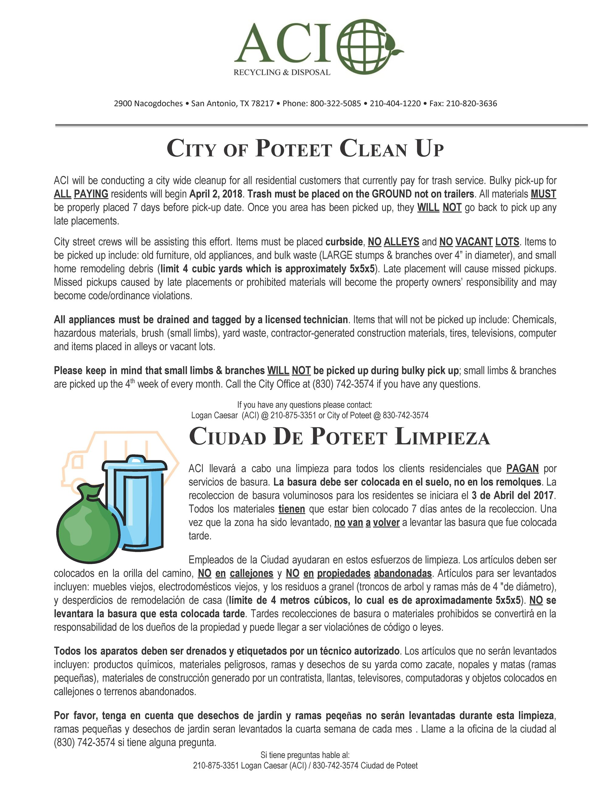 Poteet City Clean Up - Spring 2018